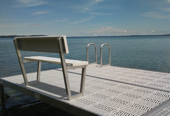 dock with bench and swim ladder